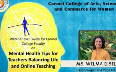 WEBINAR ON MENTAL HEALTH TIPS FOR TEACHERS BALANCING LIFE AND ONLINE TEACHING